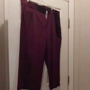 Purple Crepe wide leg crop pant
